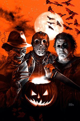 Monsterman Graphic 3 SIZES Halloween Villians art poster print Jason Voorhees Freddy Krueger Michael Myers slasher horror movie by artist Scott Jackson (11x17 inches) -