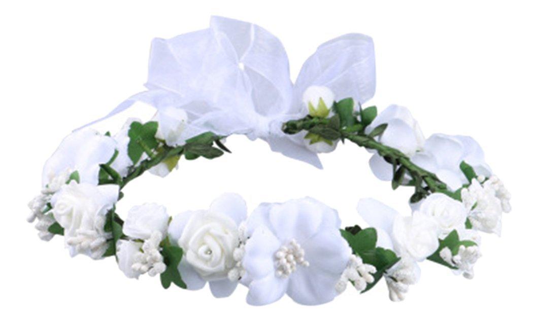 Love Sweety Rose Flower Crown Wreath Wedding Headband Wrist Band Set (White) by Love Sweety (Image #2)