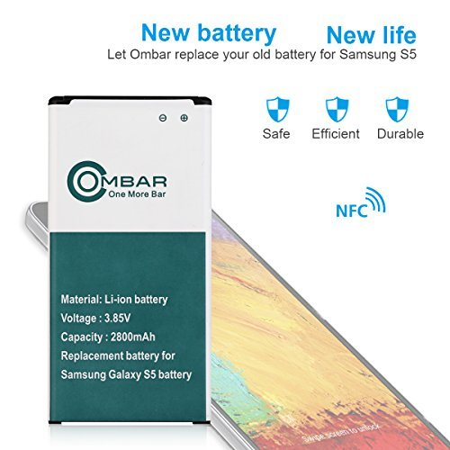 OMBAR Replacement Battery for Samsung Galaxy S5 Spare Battery with NFC