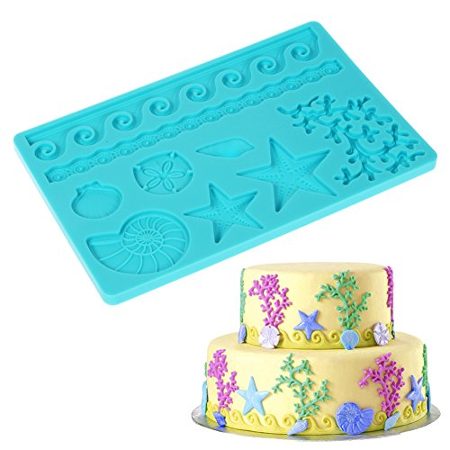 Fondant Lace Mat Silicon Mold with Shell Ocean Star Pattern size 7.8