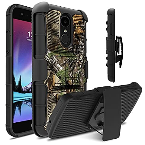 LG Fortune Case, LG Phoenix 3 Case, LG Risio 2 Case, Venoro Heavy Duty Armor Holster Defender Full Body Protective Hybrid Case Cover with Kickstand and Belt Swivel Clip for LG K4 2017 - Camo Cell Phone Cover