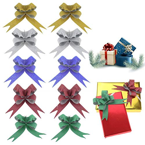 (100 PCS Glittering Pull Bows Gift Knot Ribbon Strings for Christmas Decoration, Gift Wrapping, Glittering Colors, 1.8 x)