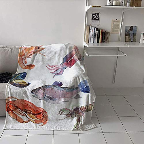 Khaki home Children's Blanket Stroller Print Artwork (35 by 60 Inch,Sea Animals,Sea Food Illustration with Shrimp Mussel Fish Crab Watercolor Painting Effect,Mustard Navy