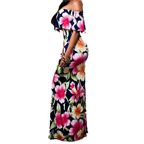 UniqStore Frauen Fashion Blumen Off Shoulder Party Maxi Kleider Navy ...