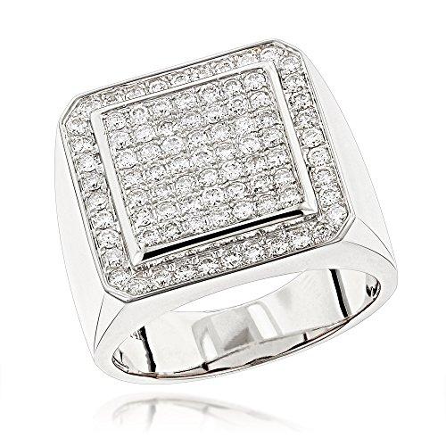 er Pinky Rings Mens Diamond Band 1.6ctw (White Gold, Size 9.5) (Diamond Pinky Ring)