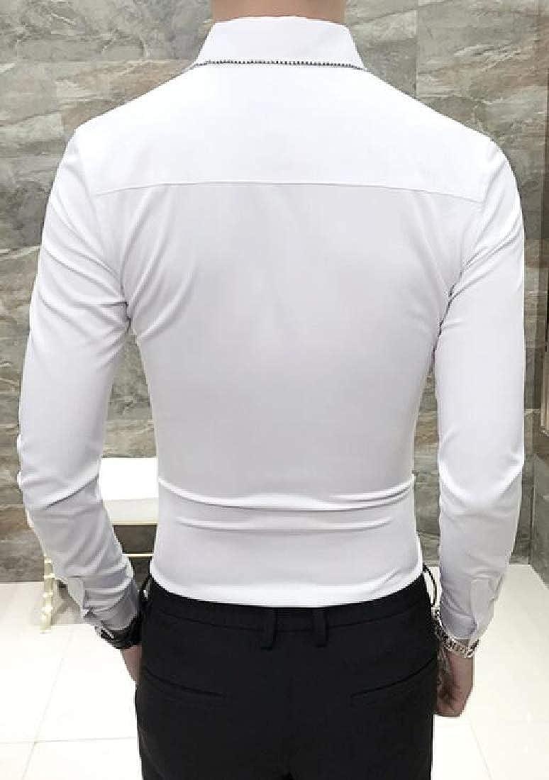 YYear Mens Long Sleeve Wedding Vogue Slim Solid Button Down Shirts