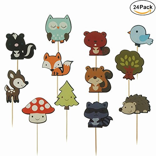 Shxstore Woodland Creatures Theme Cupcake Toppers Forest Animals Friends Cake Toppers Picks for Birthday Wedding Party Decor, 24 Counts ()
