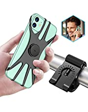 TEUMI Detachable Bike Phone Mount, 360° Rotation Adjustable Phone Holder for Motorcycle/Bicycle Handlebars, Compatible with iPhone 12/12 Mini/12 Pro/11/11 Pro Max, Samsung Note 10 Plus/S20/S10/S9