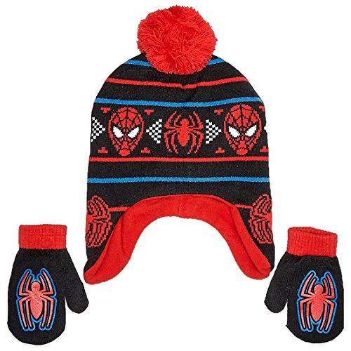 Marvel Spider-Man Little Boys Toddler Winter Hat and Mitten Set