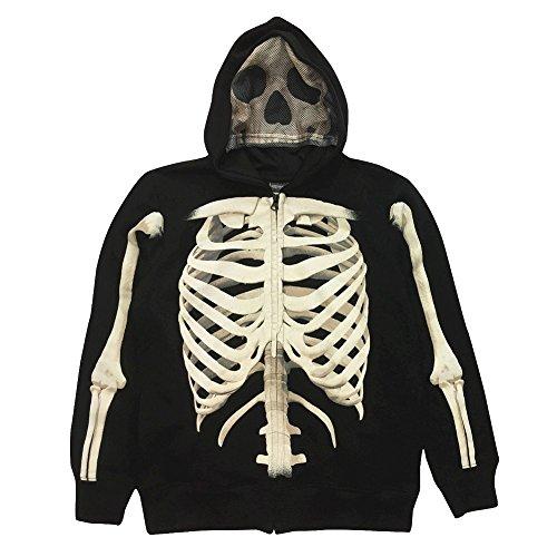 - Boy's Skeleton Graphic Hoodie Jacket (X-Small)