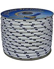 Corderie Italiane 006014249 gevlochten Nautica 08MM-050MT, wit met blauw bord
