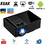 Smart Android Video Projector, KUAK 1500 lumens LED Projectors Mini Portable Built-in WiFi Bluetooth Support HDMI 1080P PC Laptop PS4 XBOX Smartphone TV Box for Movie Home Theater Game Party, Black