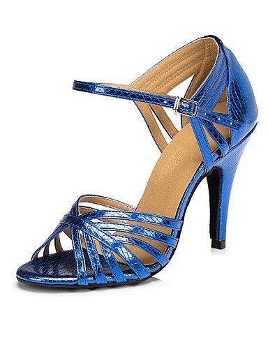 ShangYi Chaussures de danse ( Autre ) - Non Personnalisables - Talon Aiguille - Cuir - Latine , blue-us6 / eu36 / uk4 / cn36 , blue-us6 / eu36 / uk4 / cn36
