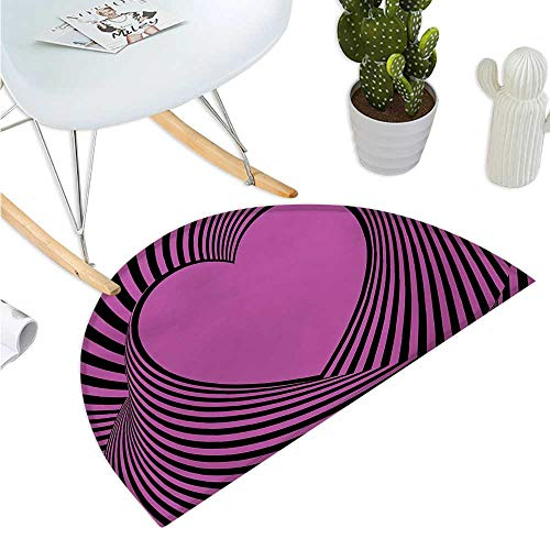 Pink Zebra Half Round Door mats Heart Shape with Twisting Lines Happiness Love Valentines Day Themed Stripes Entry Door Mat H 47.2
