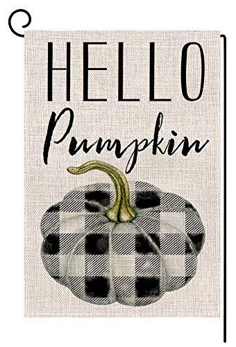 BLKWHT 179133 Hello Pumpkin Buffalo Check Small Garden Flag Vertical Double Sided 12.5 x 18 Inch Colorful Autumn Burlap Yard Outdoor Decor