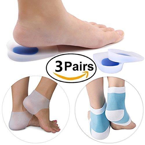 Gel Heel Cups Cushions, Back Heel Sleeves, Moisturizing Socks, Plantar Fasciitis Relieve Pain All 3 Pairs