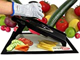 SimpliFine Mandoline Slicer and Chopper with FREE Cut Resistant Gloves. Best for Making Quick and Healthy Salads - Fruit and Vegetable Cutter - Professional Mandolin Slicer and Glove Bundle - Makes A Great Gift