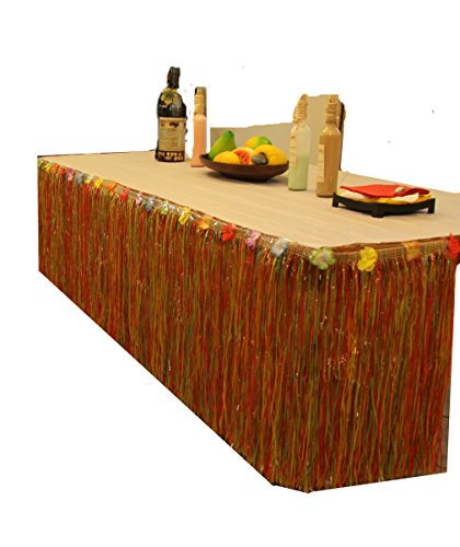 Table Skirt Heavy Duty Tropical Luau Multi Color Yellow Green Red String Hibiscus Leis Flower Party Decoration (9ft Long) by Vivj