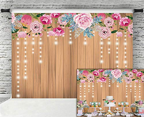 Fanghui 7x5FT Flora Rustic Wooden Wall Photography Backdrop Decoration Glitter Flower Wedding Bridal Shower Baby Newborn Background Birthday Party Banner Photo Booth Props