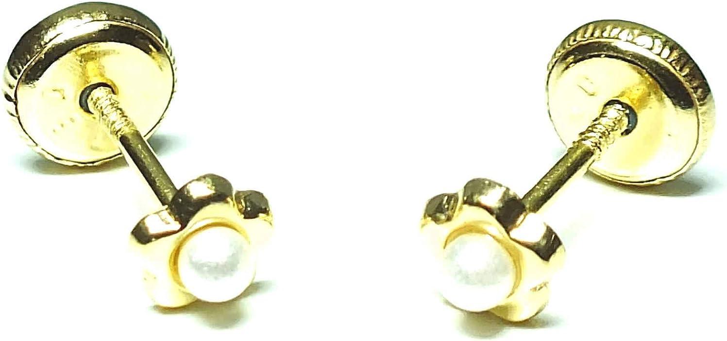 ROSA DI MANUEL Pendientes oro 18k bebé recien nacida niña o mujer, modelo corazón o flor, con perla cultivada y con cierre de máxima seguridad. Medida de la joya 4 milímetros.