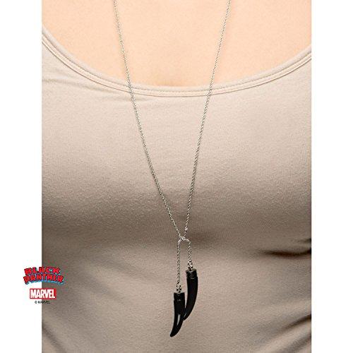 Marvel Panthère Noire Femme Panther Pince à collier avec pendentif plaqué PVD noir