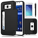 Galaxy Grand Prime Case, EC™ [Shockproof][Drop Protection] Hybrid Dual Layer Slim Wallet Case with Card Slot Holder Hard Shell Cover for Samsung Galaxy Grand Prime G530 (Black)