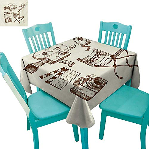 Movie Theater Square Polyester Tablecloth Photography and Cinema Vintage Set in Sketch Art Style Director Shooting Washable Polyester - Great for Buffet Table, Parties, Holiday Dinner, Wedding & More