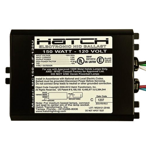 Hatch MC150-1-F-120U - 150 Watt - 120 Volt - Electronic Metal Halide Ballast - ANSI M102/M142 - Side Leads With Mounting Feet