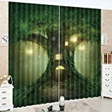 LB Teen Kids Decor Collection,2 Panels Room Darkening Blackout Curtains,Ancient Trees in the Forest 3D Effect Print Window Treatment Curtains Living Room Bedroom Window Drapes,80 x 96 Inches
