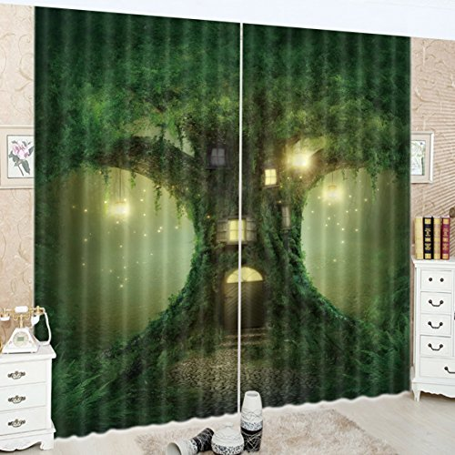 LB Teen Kids Decor Collection,2 Panels Room Darkening Blackout Curtains,Ancient Trees in the Forest 3D Effect Print Window Treatment Curtains Living Room Bedroom Window Drapes,80 x 96 Inches by LB