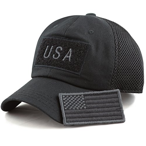 THE HAT DEPOT Low Profile Tactical Operator With USA Flag Patch Buckle Cotton Cap (USA- Black) by THE HAT DEPOT