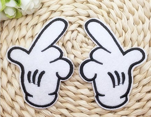 2pcs Mickey Mouse White Gloves left and right hands Classic Disney Embroidered Iron On / Sew On Patch