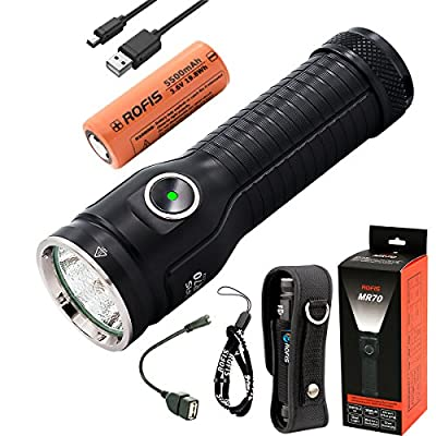 Rofis MR70 CREE XHP70.2 P2 LED 3500 Lumens Multifunctional Ultra-bright Rechargeable and Dischargeable 26650 Search Flashlight Dual Light Source Tactical Flashlight
