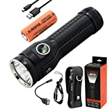 Rofis MR70 CREE XHP70.2 P2 Cool White LED 3500 Lumens Multifunctional Ultra-bright Rechargeable and Dischargeable 26650 Search Flashlight Dual Light Source Tactical Flashlight with 26650 Battery