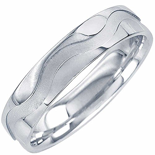 14k White Gold Puzzle Ring (14K White Gold Wave Men's Comfort Fit Wedding Band (5mm) Size-9c1)