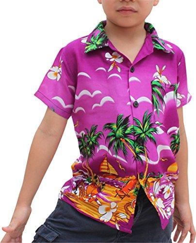 Raan Pah Muang RaanPahMuang Childrens Hawaiian Shirt In Summer Printed Rayon Seaside Beach Fun, 10-12 Years, Seaside Hibiscus - ()