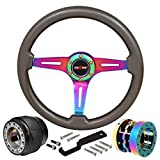 98 eclipse steering wheel - 345mm 6-Bolt Steering Wheel Hub Adapter Extender Godsnow Horn Button Upgrade Replacement For Mitsubishi Eclipse