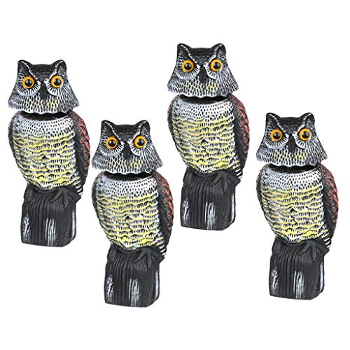 Repellents - Large Realistic Owl Decoy W Rotating Head Bird Pigeon Crow Scarer Scarecrow Pack Of 4 Pest Control - Rigs Ducks Duck Bottles Paint Items Earbuds Nest Waterproof Mesh -