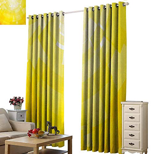 Novel Curtains Yellow Modern Circular Mosaic Motifs Digital Pixel Featured Graphic Design Illustration Home Light Blocking Drapes with Liner W84 xL84 Yellow