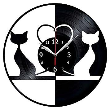 Amazon.com: Gatos animales gato amor discos de vinilo reloj ...