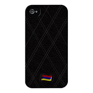 Stylish Black Leather Flag of Armenia Lustroso abrigo lleno carcasa iPhone 4s de UltraFlags
