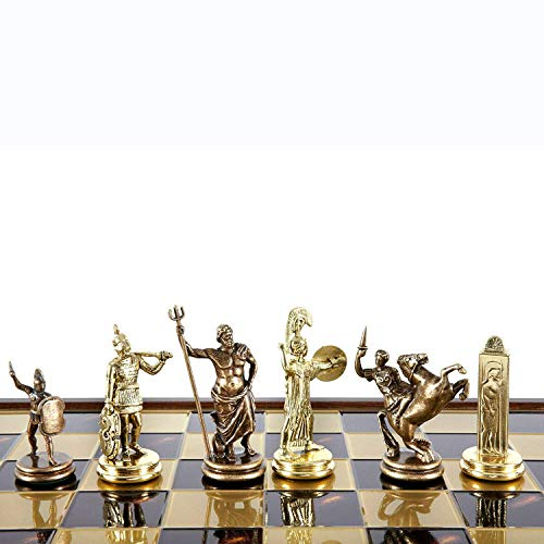 Manopoulos Greek Mythology X-Large Chess Set – Brass&Copper – Red Chess Board