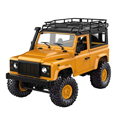 Littleice MN-90 Remote Control RC Car Front LED Light 1:12 4WD RC Car Off-Road Military Rock Crawler Monster Truck Toy Gift (Yellow) -