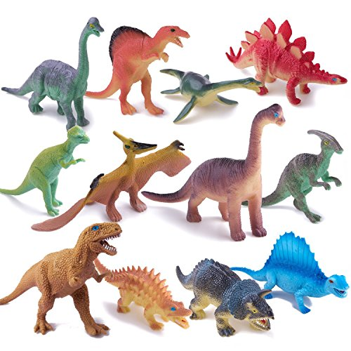 Dinosaur Play Figure Toy (Dinosaur Toys,Plastic Dinos Figures Play Set with Carrying Case,5-7 Inch, Pack of 12)