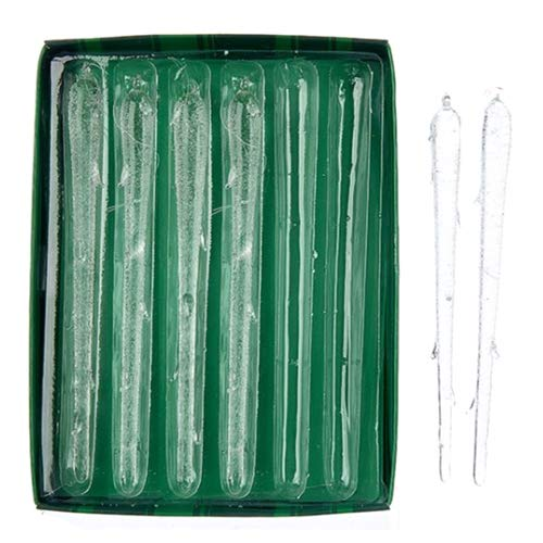 Kurt Adler 6-Piece Glass Icicle Ornament Box Set, 6.69-Inch