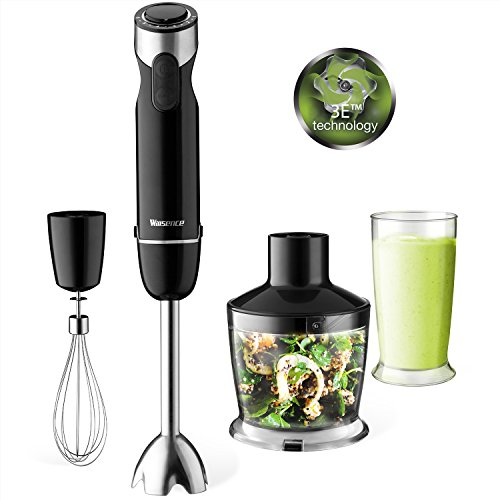 Food Processor Attachment (Hand Blender, 4-in-1 Powerful Immersion Blender Set, 6 Speeds Variable Control and Turbo with 500ml Food Processor, Whisk Attachment and 600ml BPA Free Beaker by Willsence)