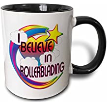 3dRose I Believe In Rollerblading Cute Believer Design - Two Tone Black Mug, 11oz (mug_166835_4), 11 oz, Black/White