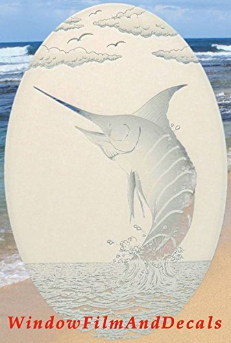 """Oval Marlin Etched Window Decal Vinyl Glass Cling - White with Clear Design Elements (15"""" x 23"""")"""