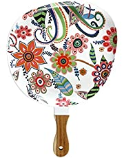 Cabilock Ceramic Cerving Tray Steak Plate with Wooden Handle Floral Patterned Food Serving Dish Baking Salad Pizza Plates