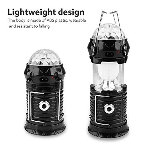 Kinrui Solar Power 3Modes Rechargeable LED Flashlight Camping Tent Light (Black) by Kinrui